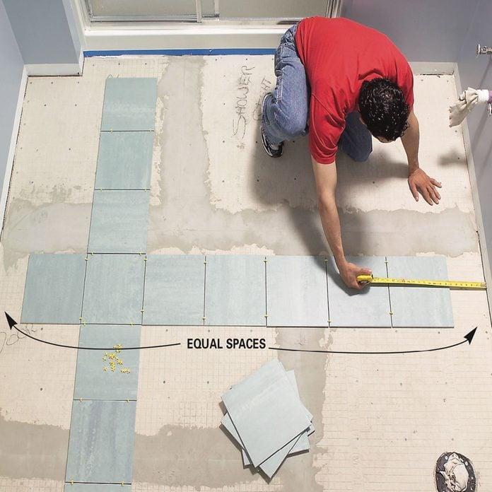 Ceramic Tile Floor In The Bathroom, Preparing Concrete Bathroom Floor For Tiling