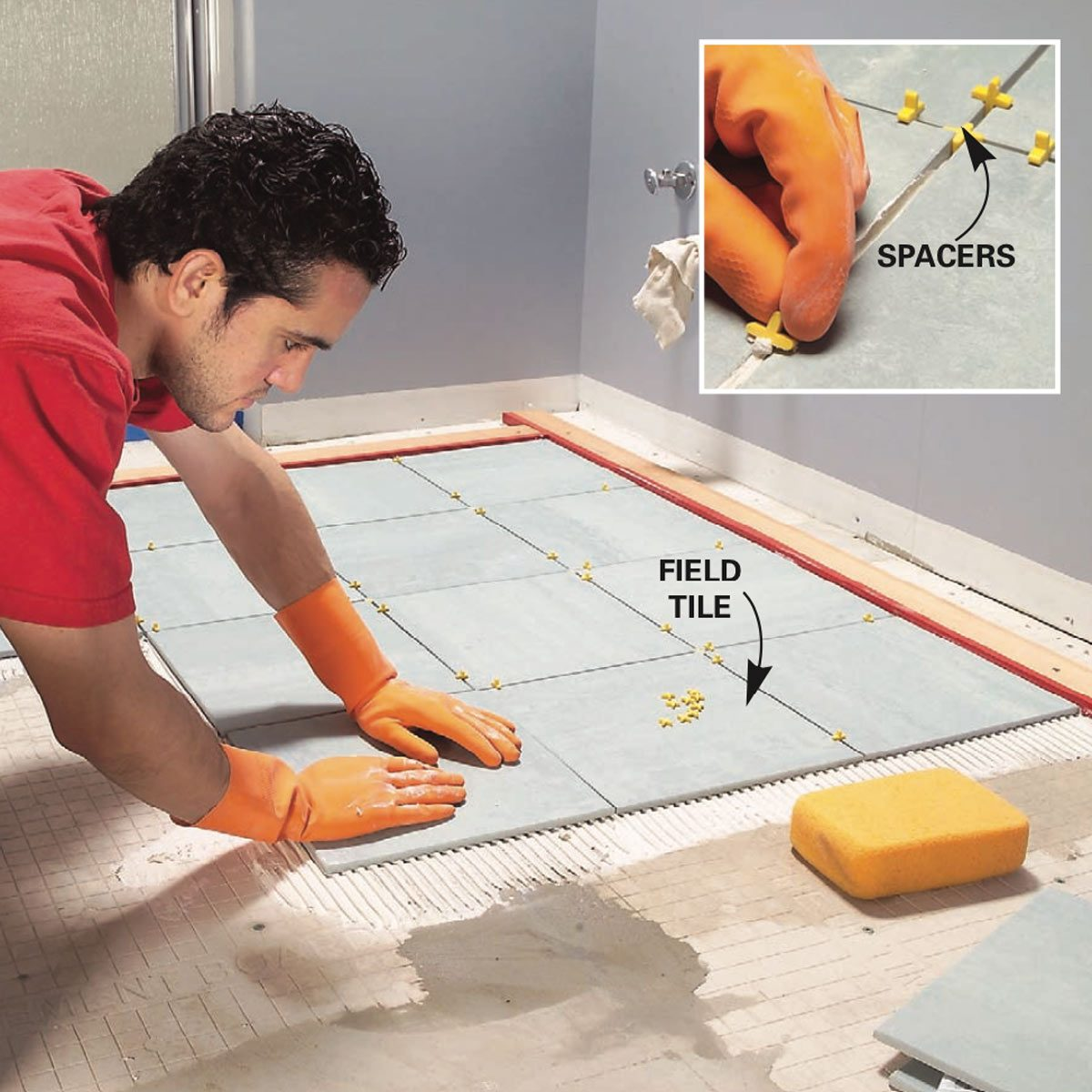 How to lay tile install a ceramic tile floor in the bathroom - Tile installation bathroom floor ...