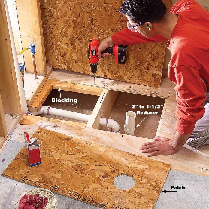 close the floor install a shower base
