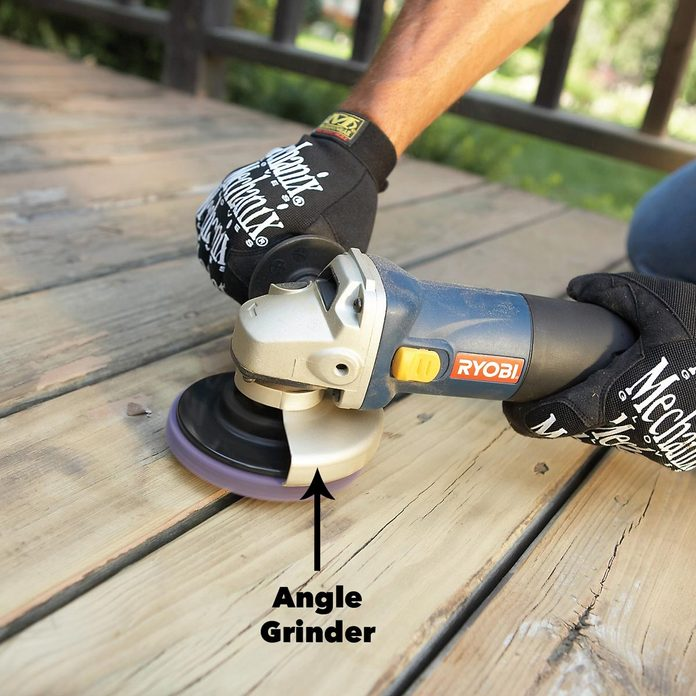 sanding deck with angle grinder