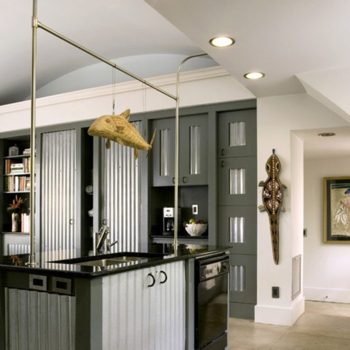 cabinetry corrugated metal cabinet doors