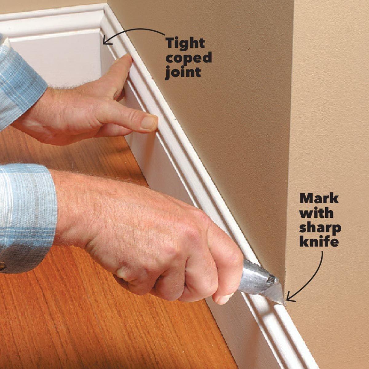 mark baseboard corners with a knife