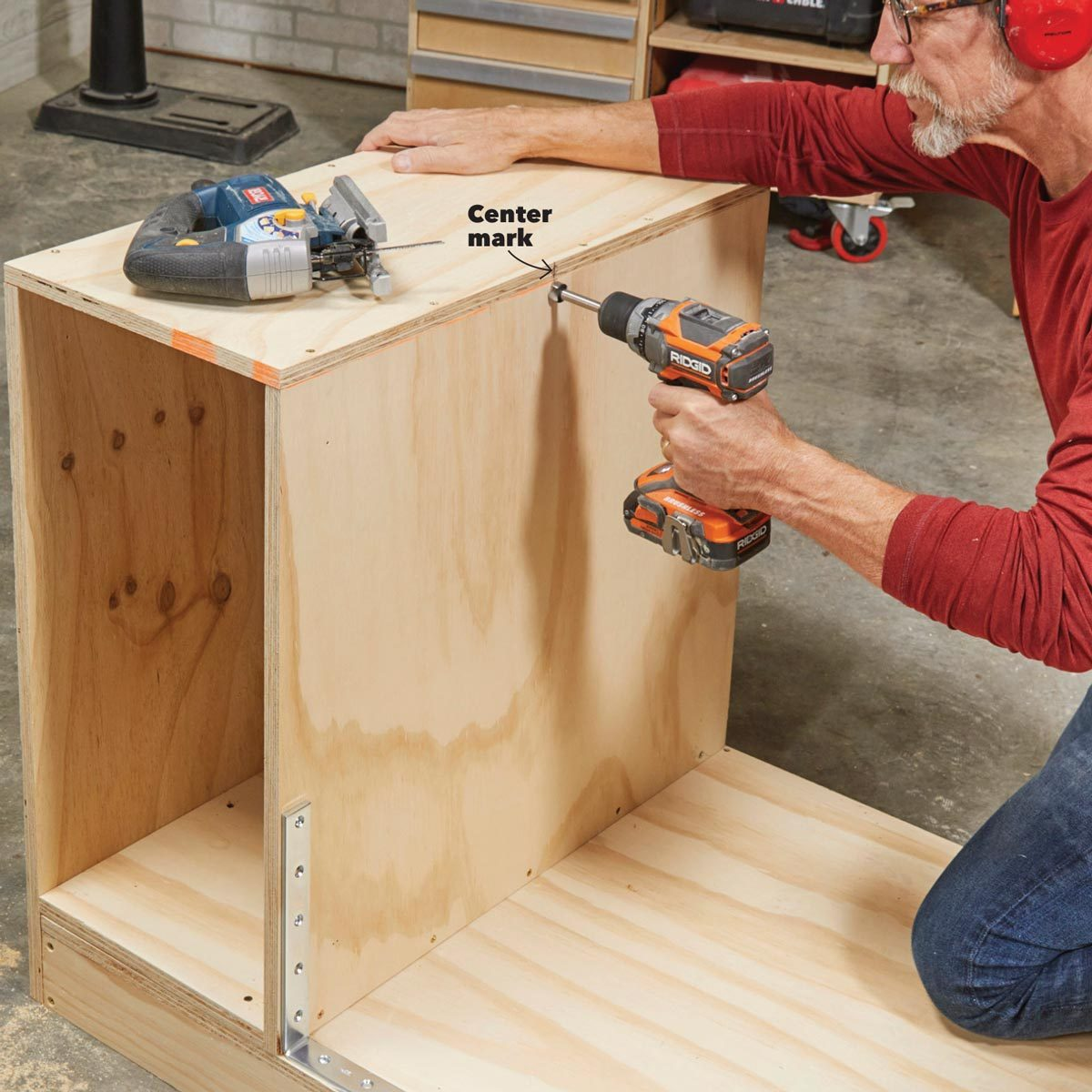 drill the pivot holes in flip-top bench