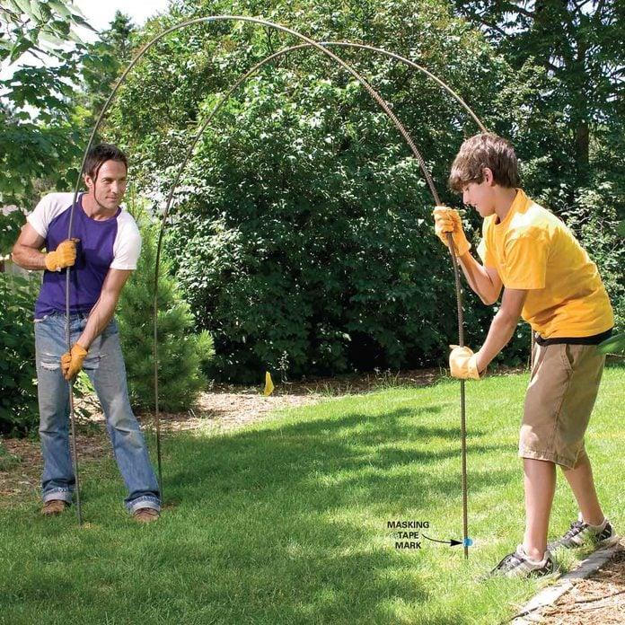 set up garden rebar trellis