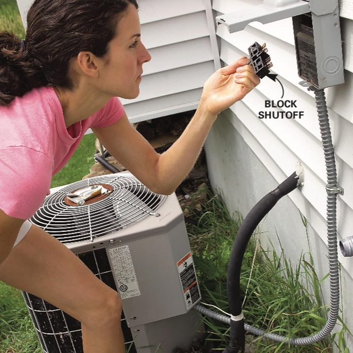 Turning off electrical power to the condenser unit at the outdoor shutoff