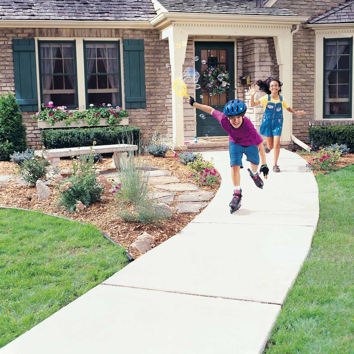 Concrete Sidewalk Kids Roller Blading Playing Outside Walkway Cost Of