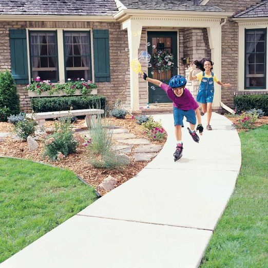 Concrete Sidewalk kids roller blading playing outside concrete walkway cost, cost of sidewalk