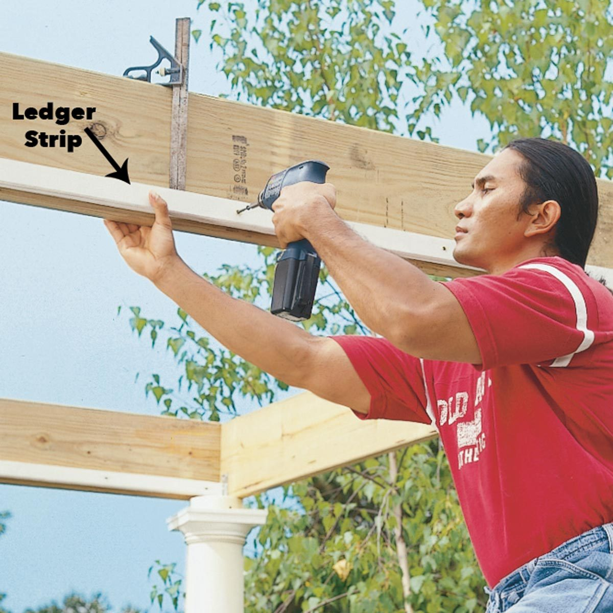 attach ledger strips to beams pergola