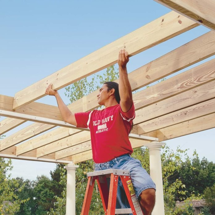 place rafters on ledgers pergola