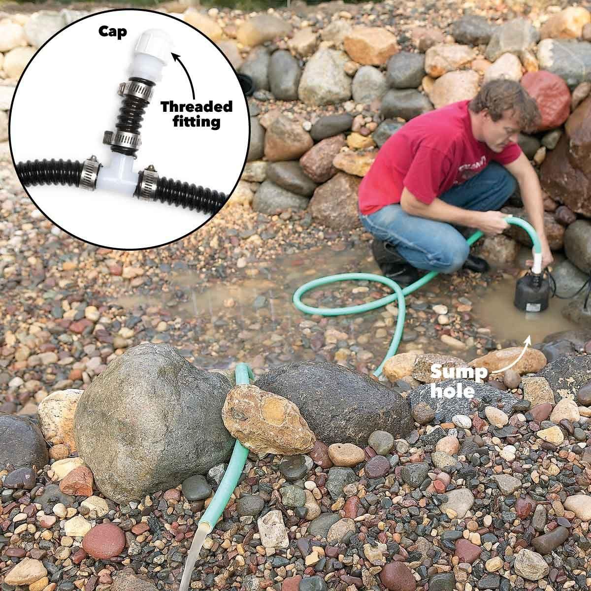 backyard fish pond sump pump drain tee