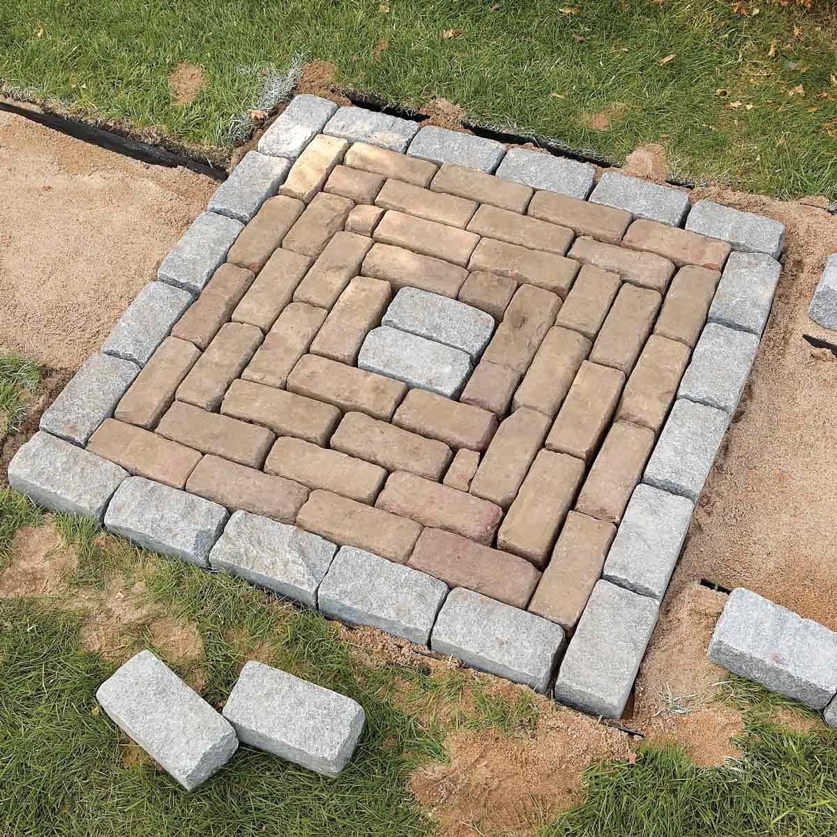 Seating area brick path