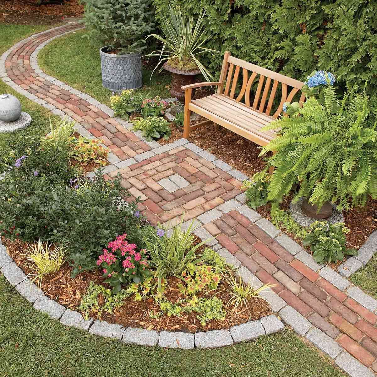 Brick Around Shed With Mulch And Flowers: Build A Brick Pathway In The Garden