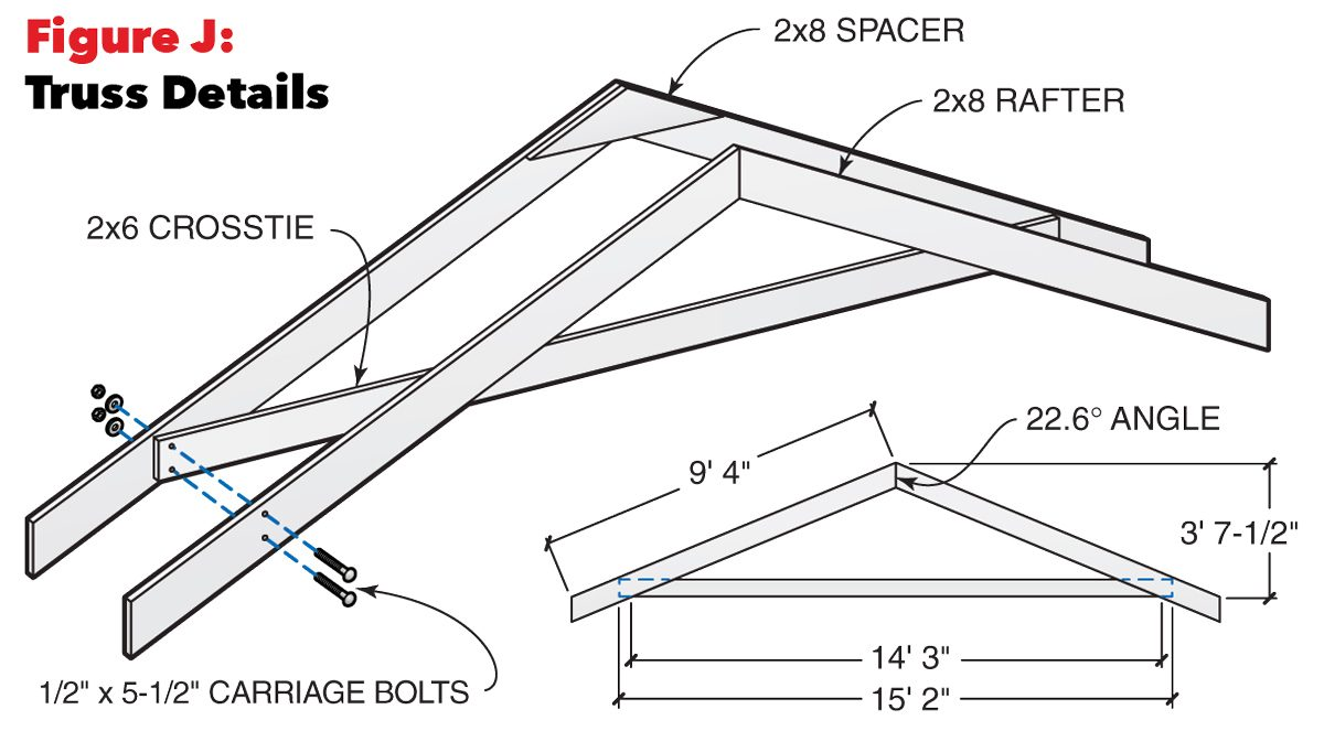 figure j roof truss details