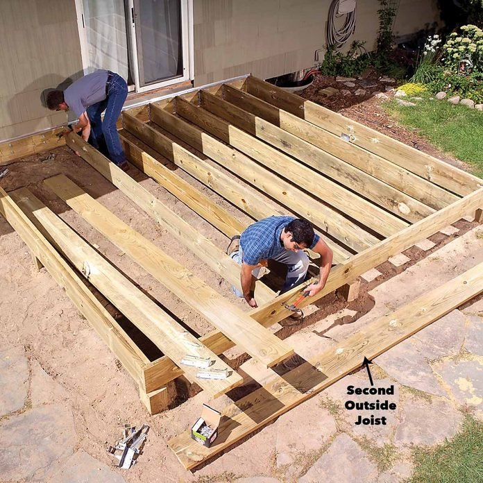 install joists and joist hangers porch