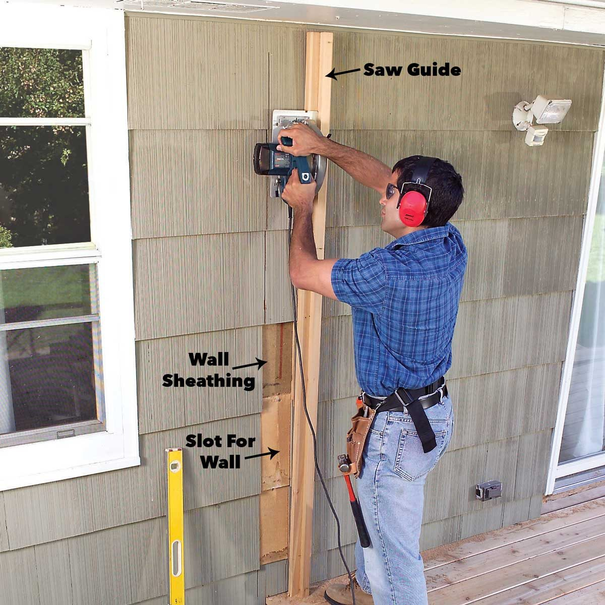 cut through siding for porch
