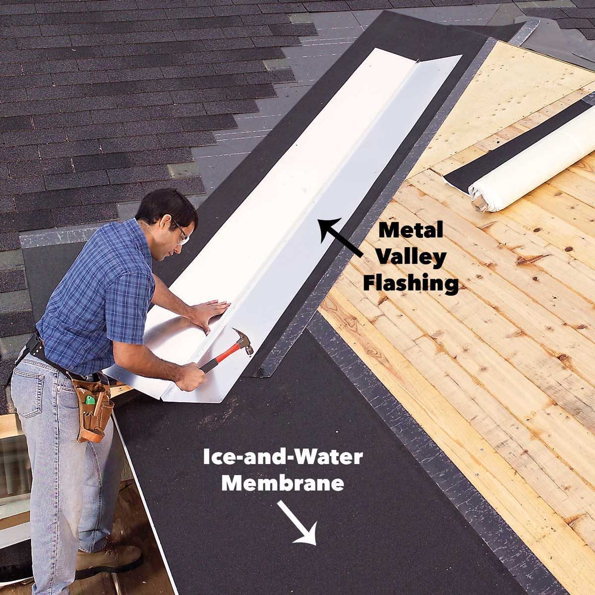 Install flashing in the roof valley