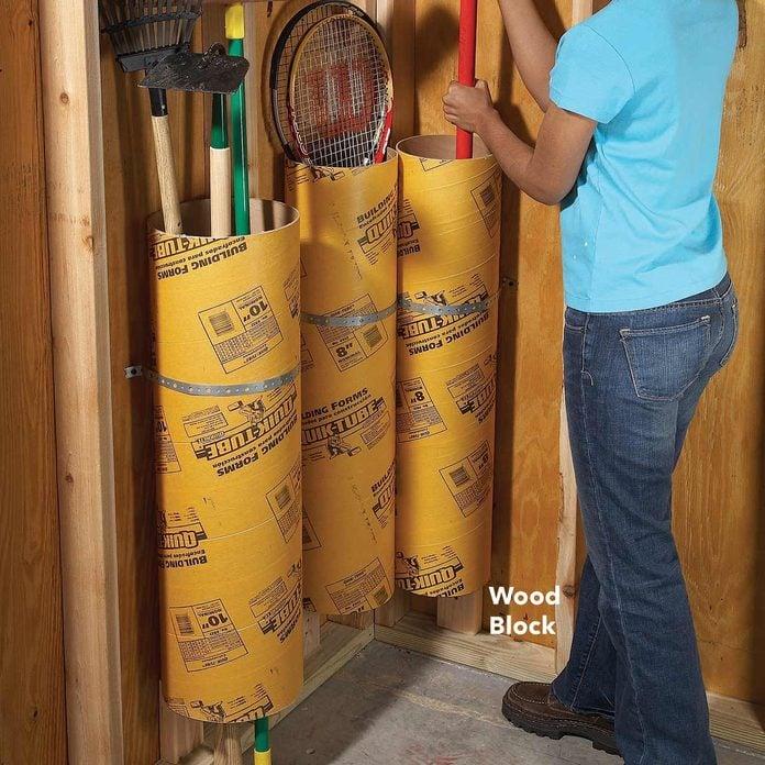 garage tool storage cardboard concrete forming tubes