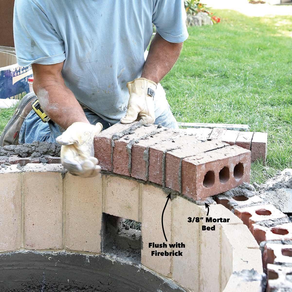 mortar the fire pit brick caps