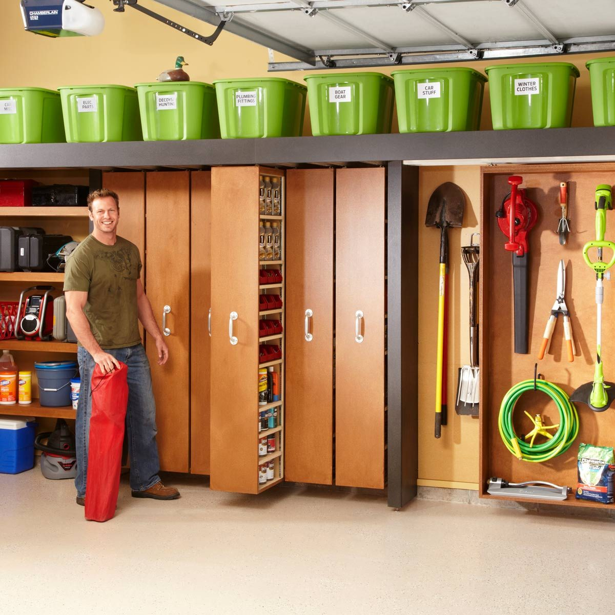 Garage Storage Space Saving Sliding Shelves Diy Family Handyman