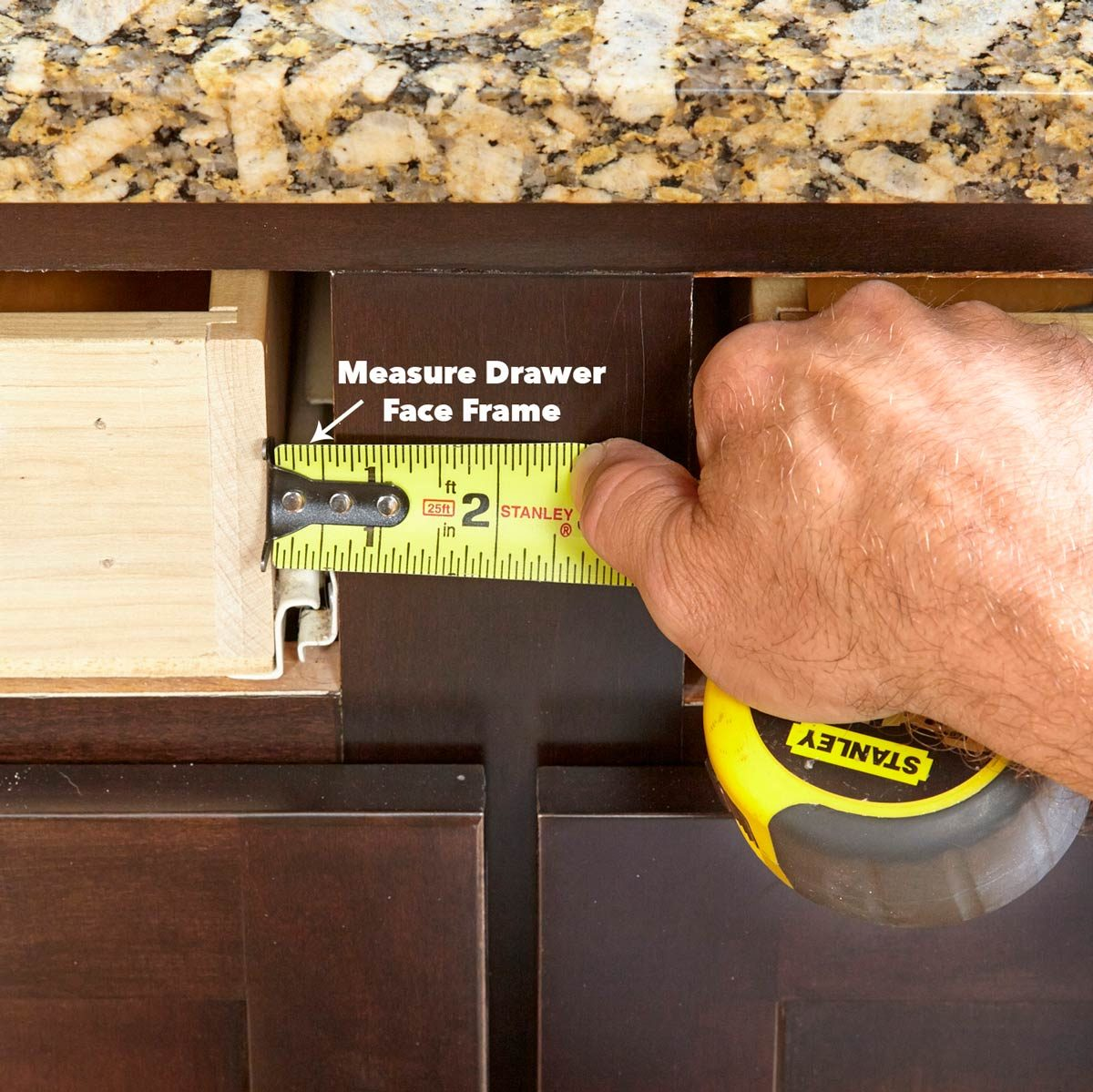measure for the drawer front placement