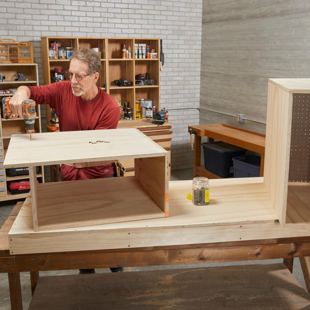 build the side cabinets flip-top workbench