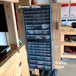slide-out parts bins sliding panel garage storage