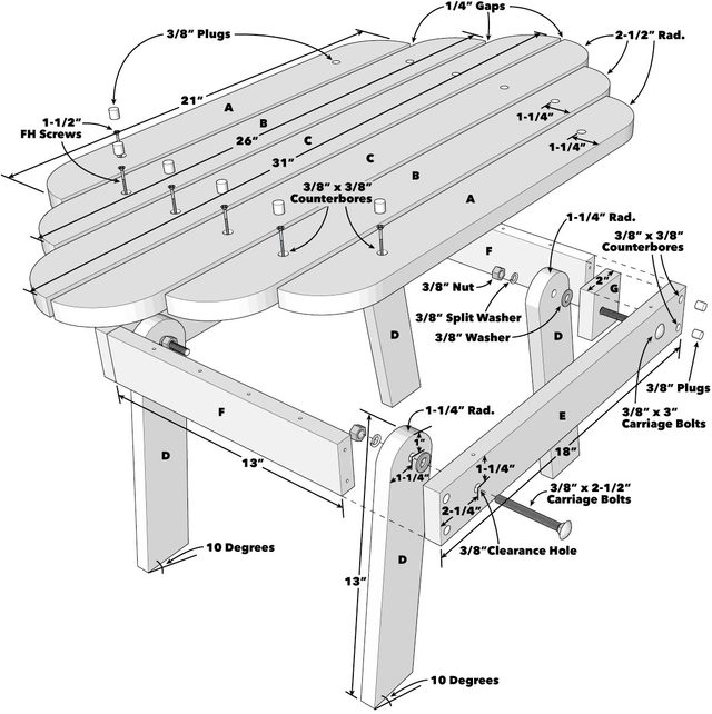 Folding Adirondack Table Tech Art