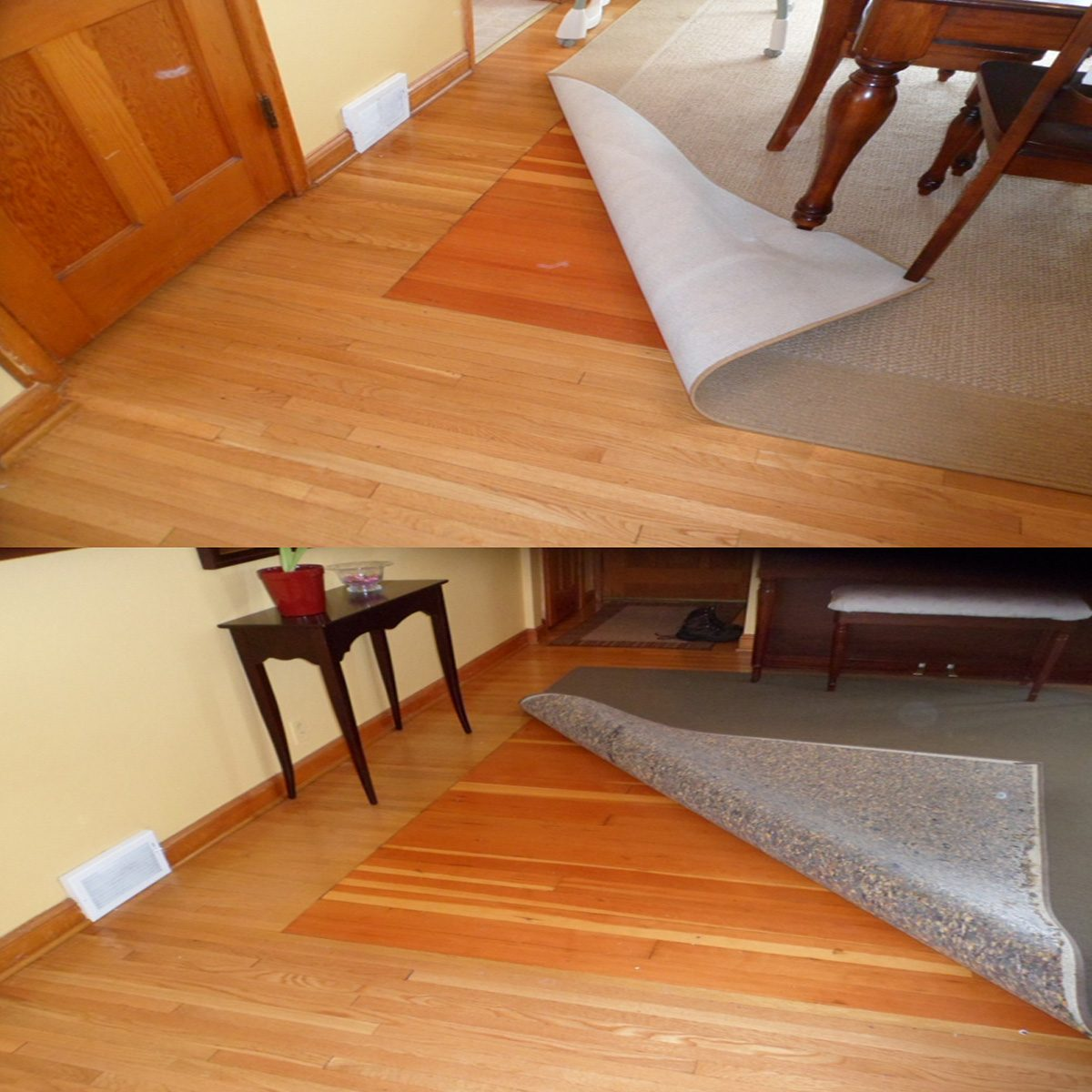 Different colored flooring hidden under a rug | Construction Pro Tips