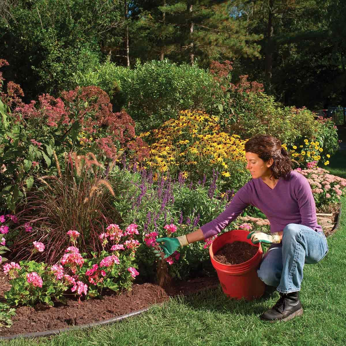 woman adding mulch to garden