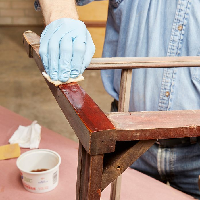 Applying wipe on poly to old chair   Construction Pro Tips