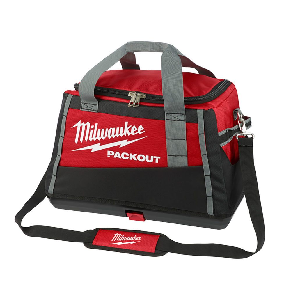 A red toolbag designed for the Milwaukee Packout System   Construction Pro Tips