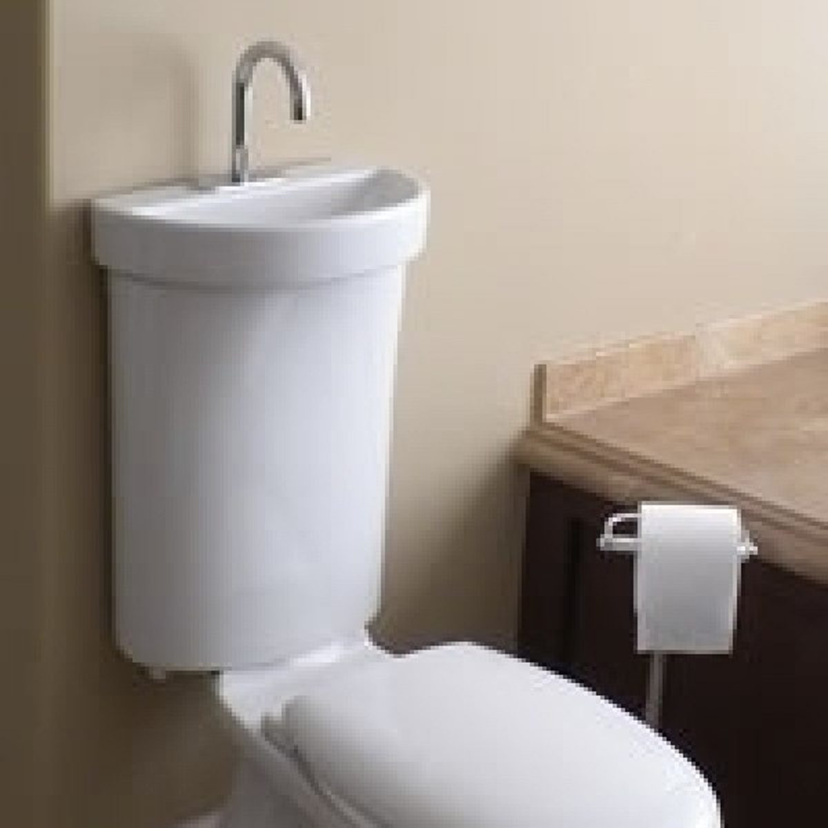 Delightful Dual Flush Toilet With Integrated Hand Washing Basin