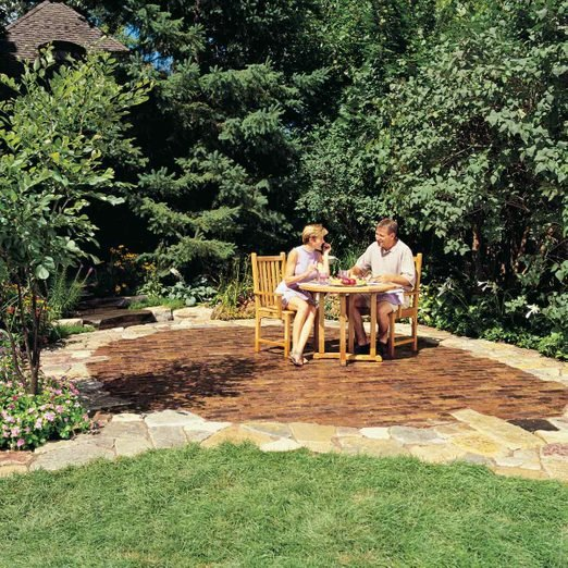 How To Build A Stone And Brick Patio Diy The Family Handyman
