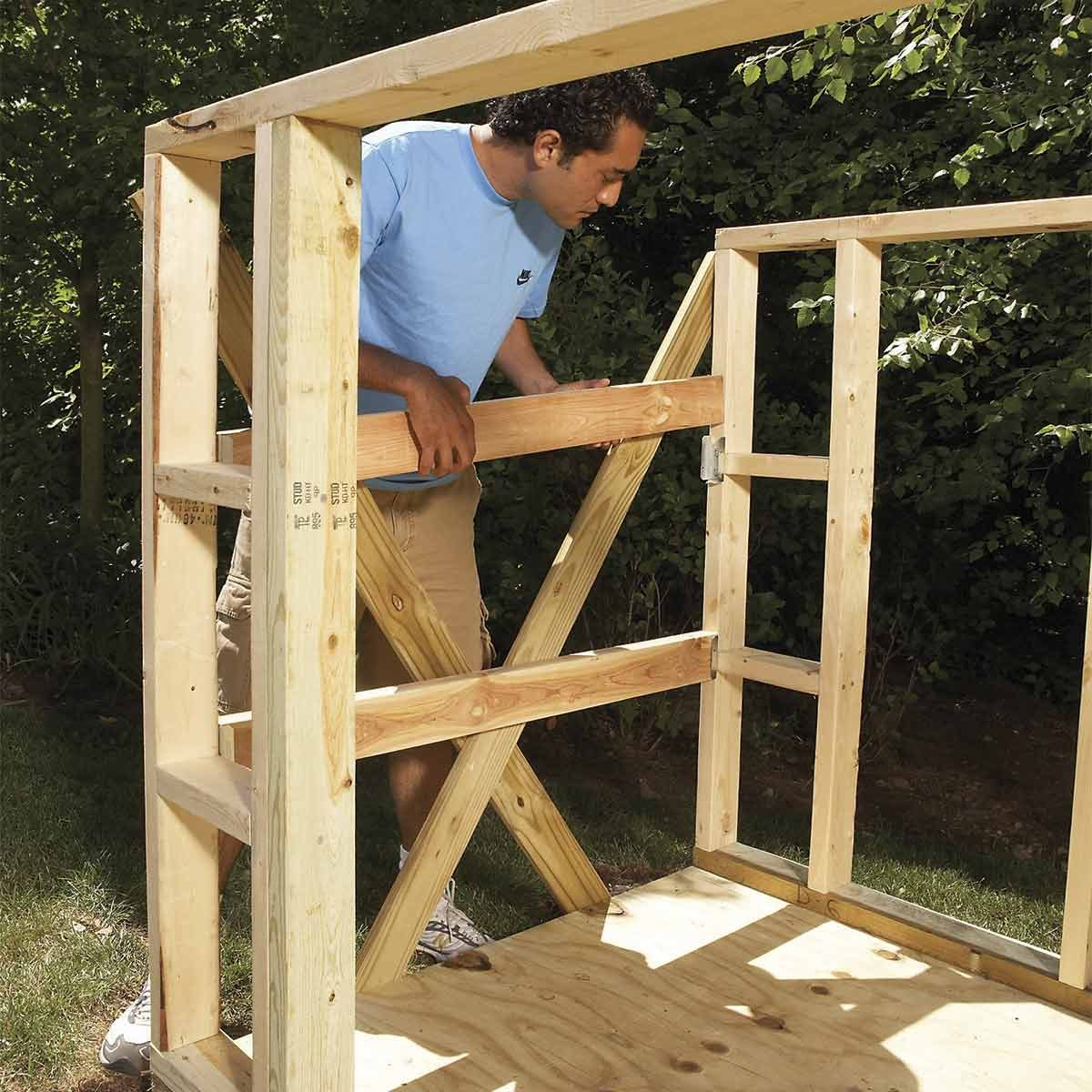 small outdoor storage sheds - installing purlins