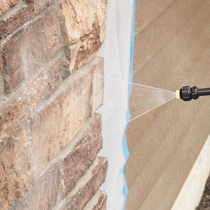 protect spray stone work in two steps