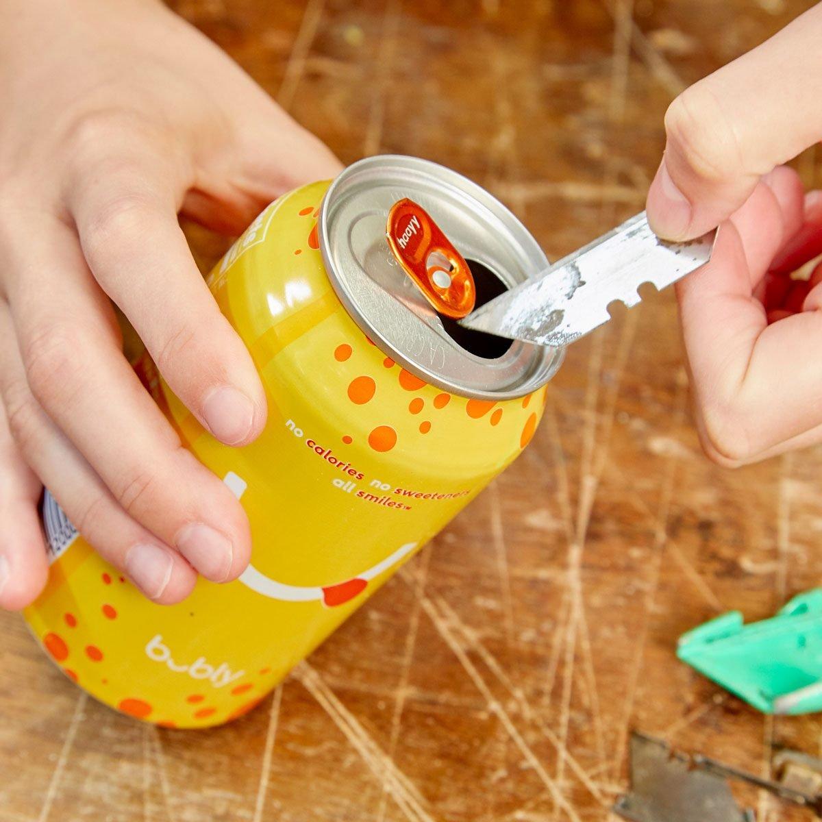 HH Safe blade disposal handy hint pop can utility blade