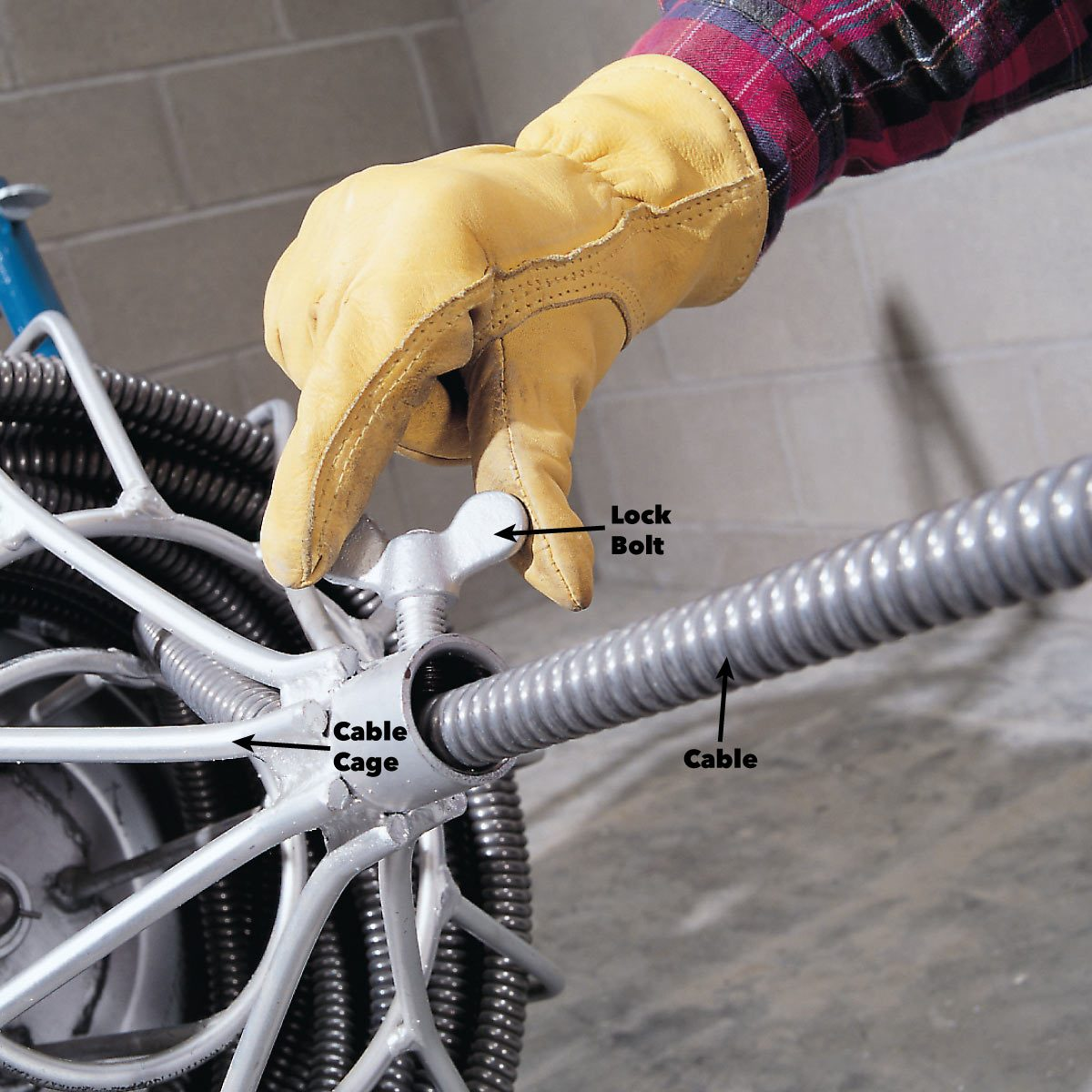 Operating a drain-cleaning machine