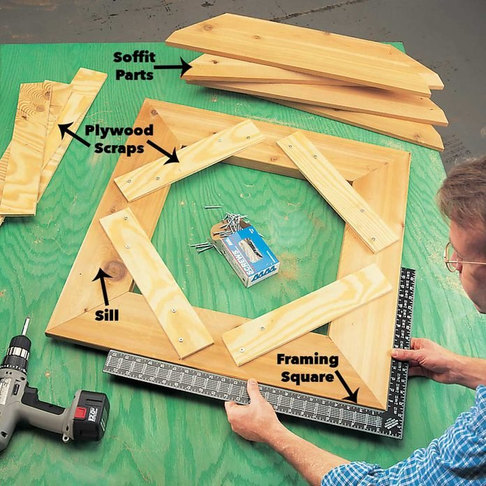 Assemble the sill and soffit frames cupola
