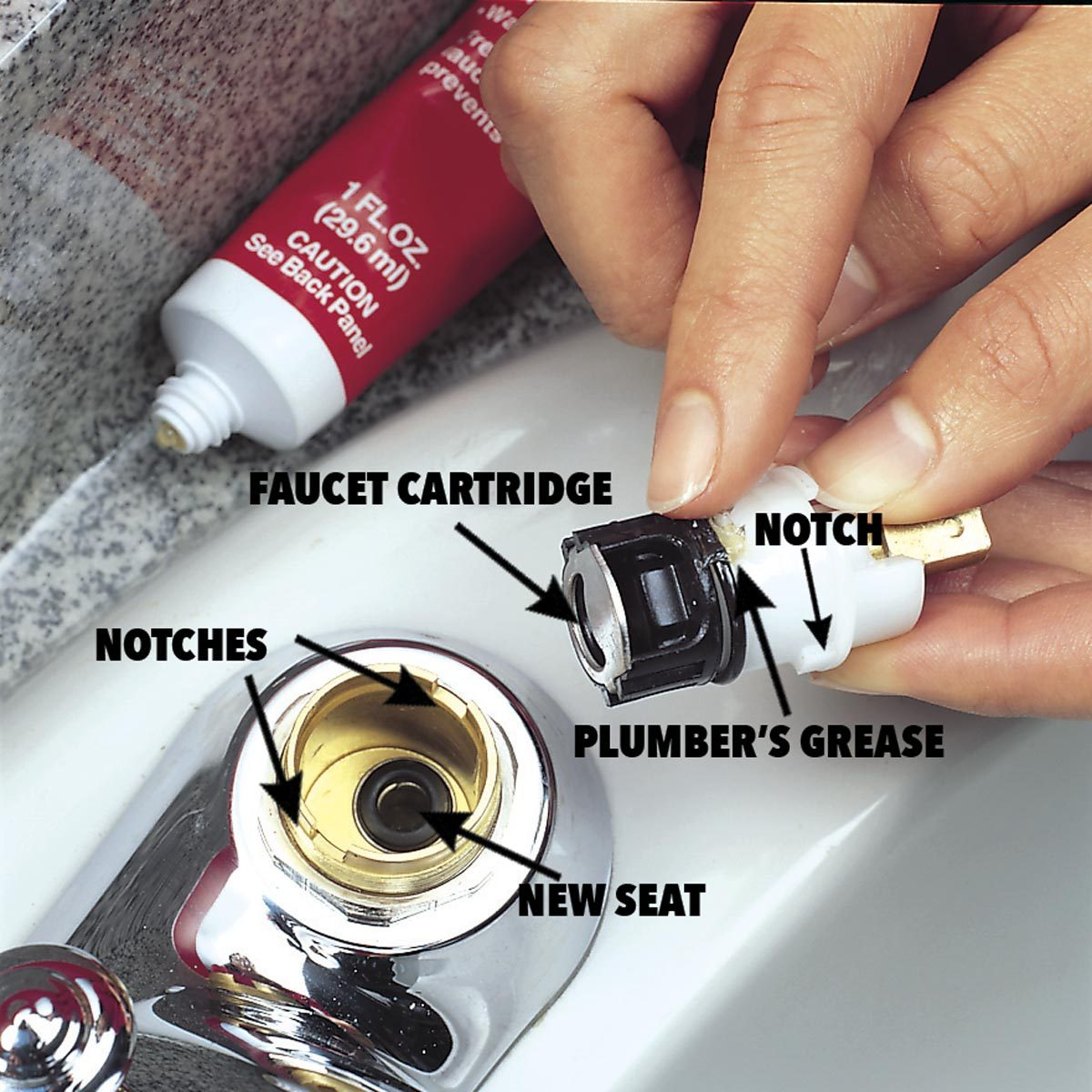 Quickly Fix A Leaky Faucet Cartridge The Family Handyman Delta Tools Wiring Diagram Drop New Spring Into Recess And Push Seat In With Your Finger Spread Thin Layer Of Plumbers Grease Around