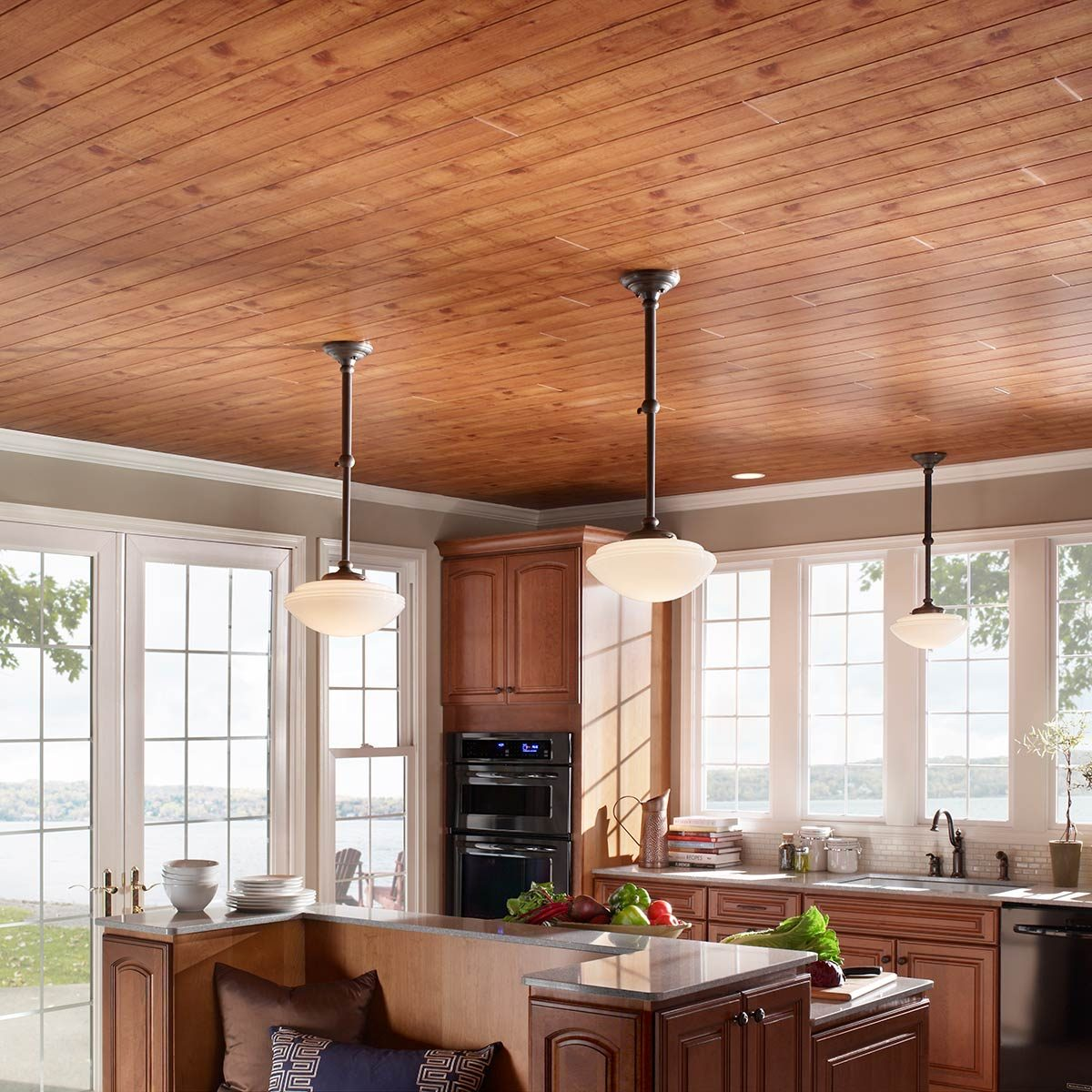 Unappealing Ceiling? Cover it up with wood-look planks | The Family ...