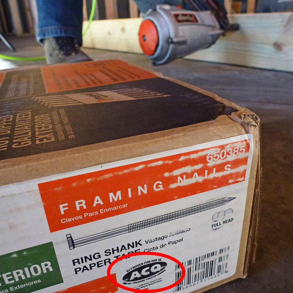 A package of framing nails for treated wood | Construction Pro Tips