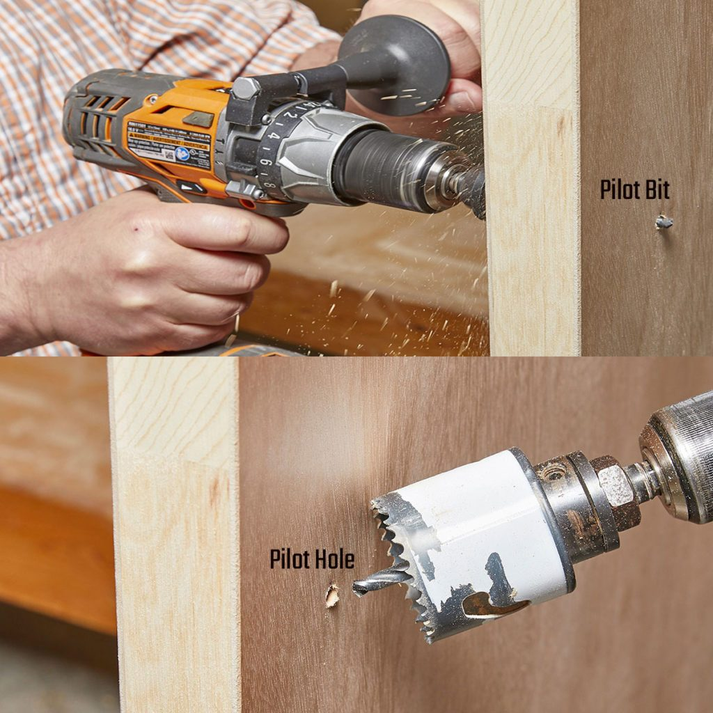 A regular drill creating a pilot hole and then a hole saw cutting in that spot | Construction Pro Tips