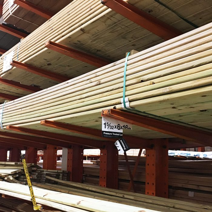 Treated lumber Aisle at home center   Construction Pro Tips