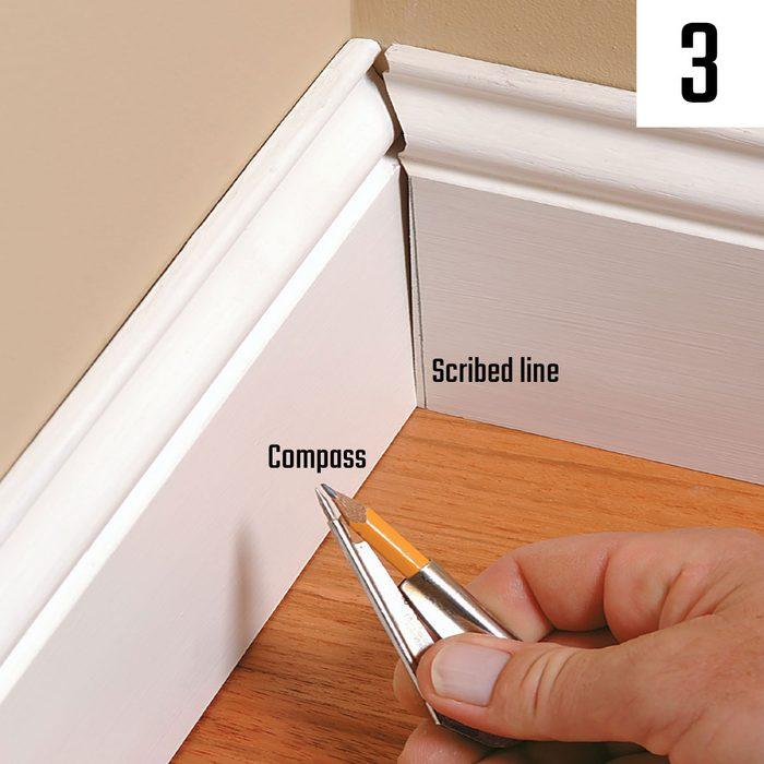 Scribing a line across a piece of base | Construction Pro Tips