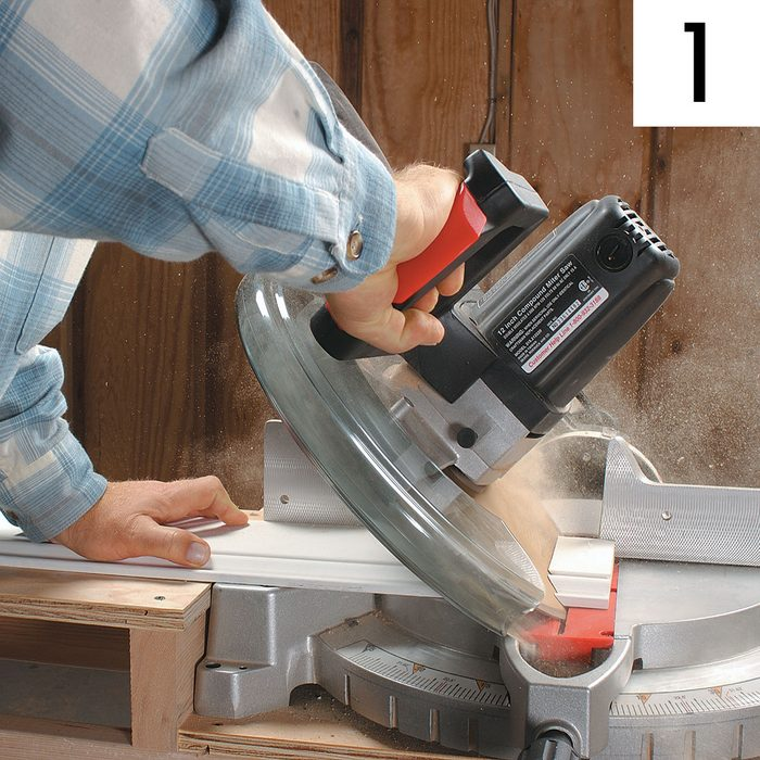 Using a miter saw to cut through baseboard | Construction Pro Tips