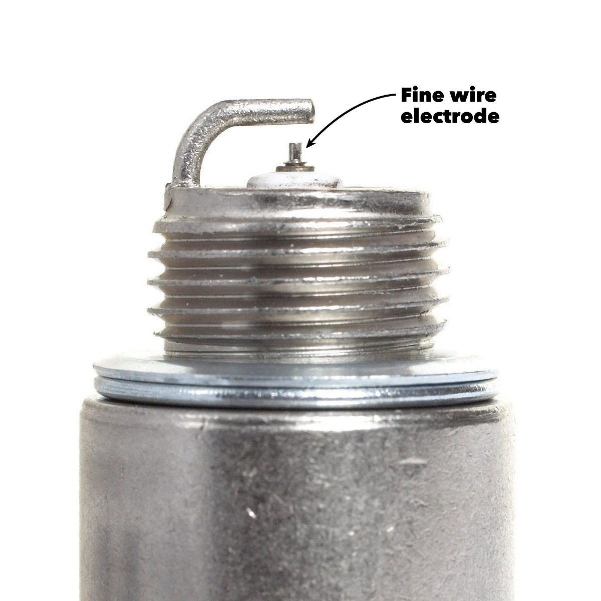 "when you change the spark plugs, don't be shocked to see the center  electrode ""worn down"" to the size of a pin  if your car was equipped with  fine-wire"