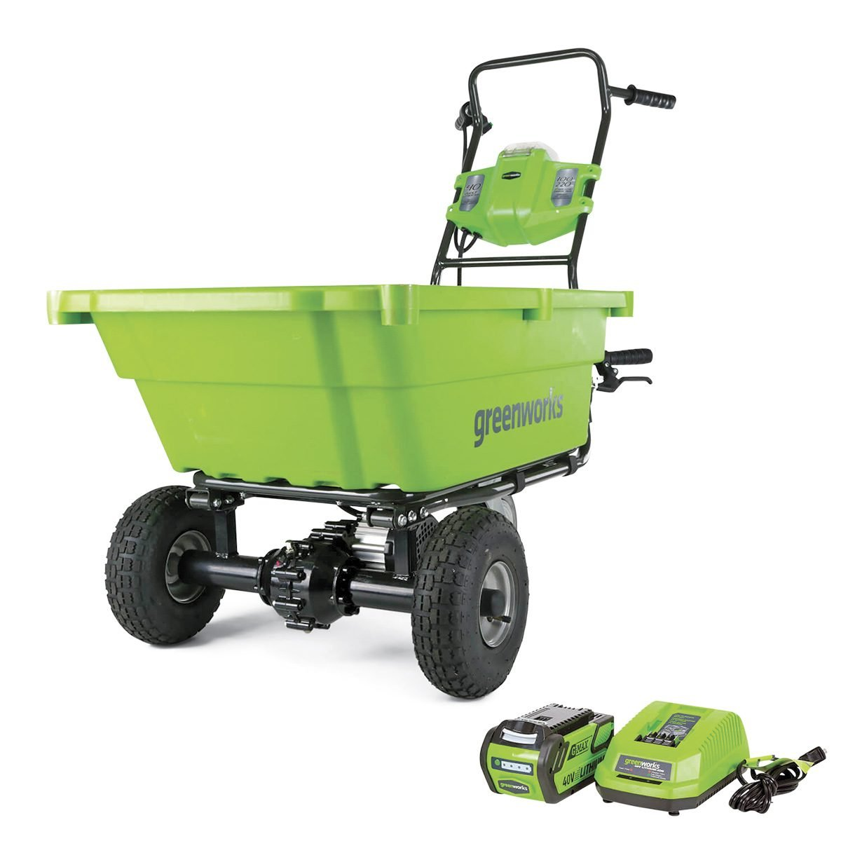 Greenworks self-propelled wheelbarrow