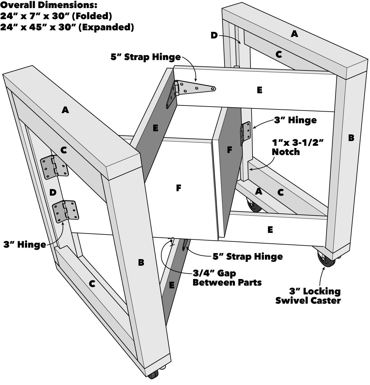 Folding Mobile Workbench