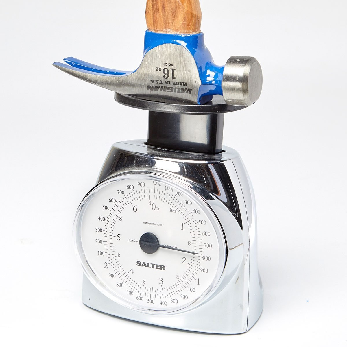 Hammer head being weighed on a scale   Construction Pro Tips