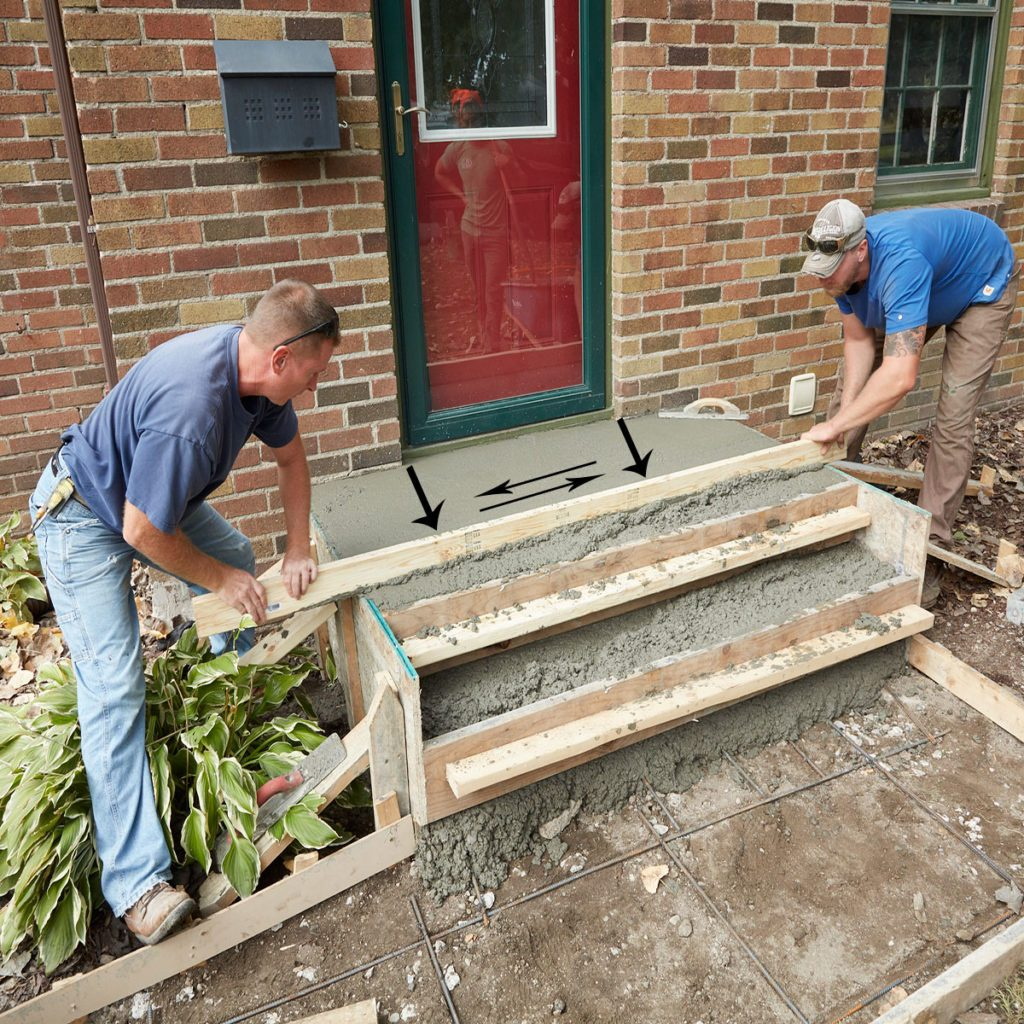 Screed away the top of the form | Construction Pro Tips